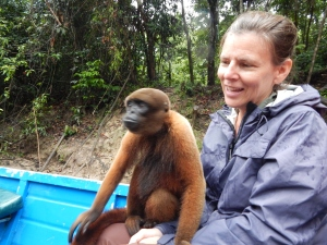 Jenni with a monkey on her lap