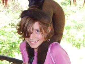 Audrey with a rescue monkey on her head!