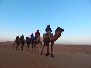 Jenni, Corey, Oliver, and Audrey as the sun rises over the Sahara